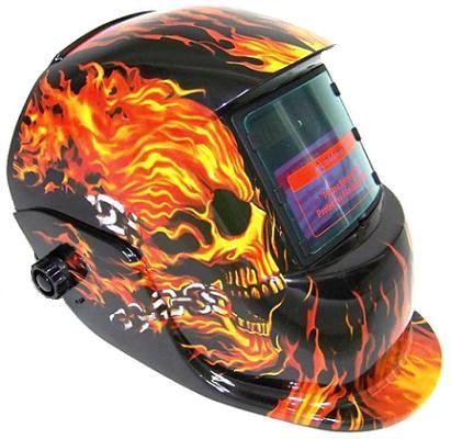 Welding Helmet – Flames Skull – Auto-Darkening – SolarC.P.S