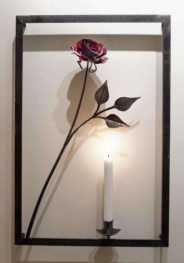 Framed Rose with Candle